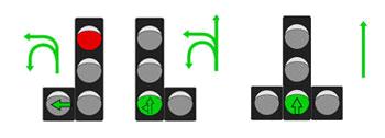 Сигналы светофора с дополнительной стрелкой